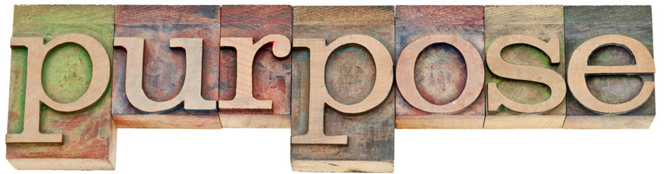 purpose word in letterpress wood type